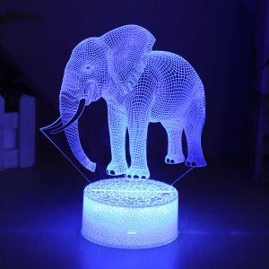 Elephant Model Remote Control Touch Switch 3D akryl LED 7/16 färger Färgglada ljusa julklappsdekorationer