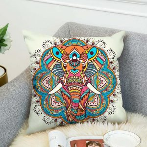 3D Bohemian Style Elephant Double-sided Printing Cushion Cover Linen Cotton Throw Pillow Case Home Office Sofa