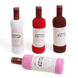 34x72cm Boxed Cotton Absorbent Wine Shape Handduk Festival Valentine Wedding Gift Party Decor