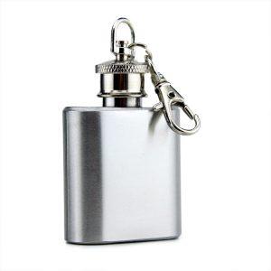 1oz Mini Pocket Stainless Steel Wine Bottle Whiskey Liquor Hip Flask Screw Cap Keychain Wine Jug Flagon