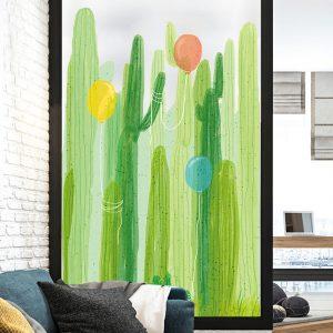 Miico FX82031 2 STK Kaktus- och ballongmålning Klistermärke Glasdörrklistermärken Väggklistermärken Heminredningsdekaler