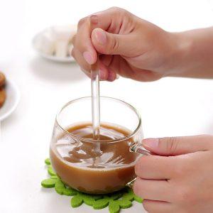 3 STK Borosilikat Transparent Glas Kaffeskopa Sockersked Kaffesked Omrörningsverktyg