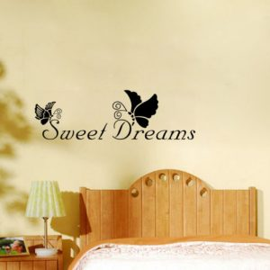 22X72CM Sweet Dreams Butterfly PVC Quote Wall Sticker Wallpaper