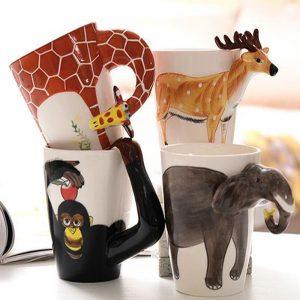 3D keramisk mugg Ren handmålad Animal Cup Cartoon Cup målad kaffemugg
