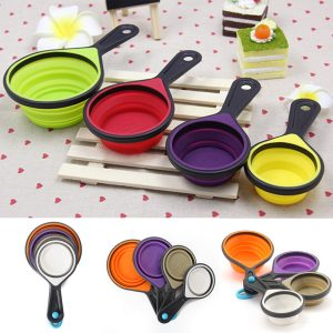 4Pcs Silicone Measuring Cake Cup Spoon Kitchen Tool Collapsible Cake Kitchen Cooking