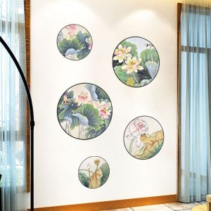 Miico FX82033 2PCS Lotus Painting Sticker Home Study Room Decorative Sticker Wall Sticker Combination Sticker
