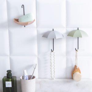 3 St Kreativa Paraply Väggkrokar Pothook För Nycklar Hårnål Hållare Organizer Dekorativ Organizer Heminredning
