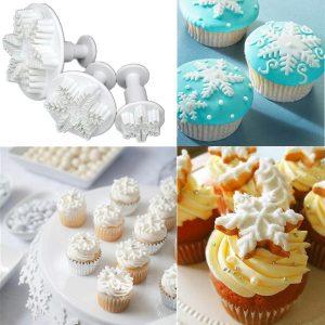 3PCS Snowflake Shape Fondant Cake Baking Decorating Mold Plunger Cutter Set