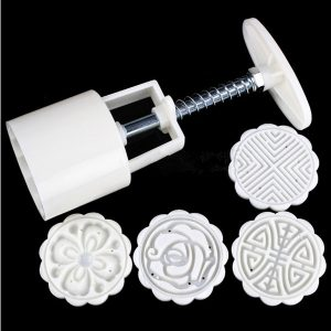 DIY Moon Cake Cutter Mold  Flowers Round 4 Stamps Moon Cake Mould Cake Decoration Tool
