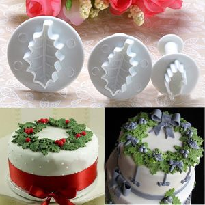 3X Christmas Holly Leaf Cake Cookie Cutter Sugarcraft Decorating Mold