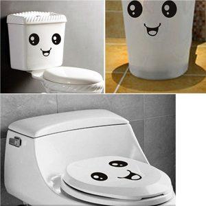 Söta leende ansiktsklistermärken Badrum vattentäta toalettklistermärken Closestool-klistermärken