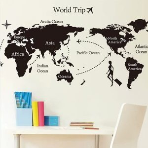 Svart Universal Travel World Map Wall Sticker Miljövänlig dekoration