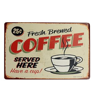 Kaffetinkskylt Retro Vintage Metal Plaque Bar Pub Cafe Wall Wall Decor