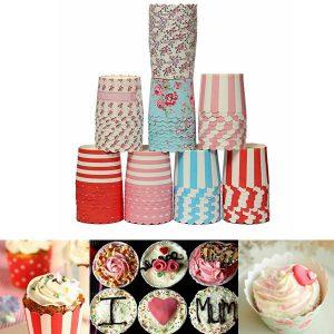 50 st fettbeständig muffin cup cake cups papper bakning foder kök tillbehör