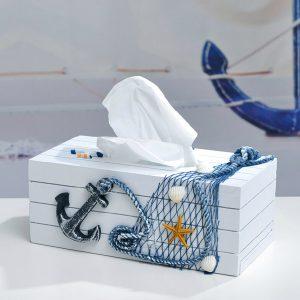 Mediterranean Style Blue And White Tissue Boxes Paper Napkin Box