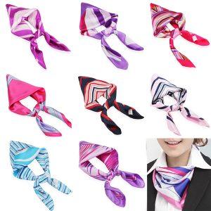 Blanda färg kvinnor silkesjal halsduk lufttrafik flygvärdinna halsdukar affärsslitage