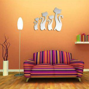 DIY 3D Fyra söta katter Akrylspegelväggklistermärken Hemrum Art Decal