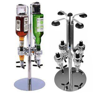 4 Heads Stainless Steel Bar Butler Rotary Wine Juice Cocktail Dispenser Holder