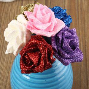 6 färger konstgjord ros DIY Nosegay handgjorda skumblommor simuleringsrosa