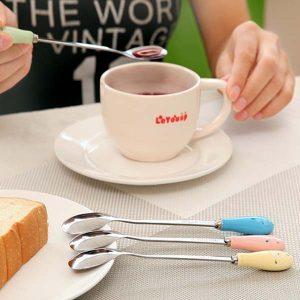 Keramiskt handtag blommig kaffesked rostfritt stål litet mjölksked bordsartiklar