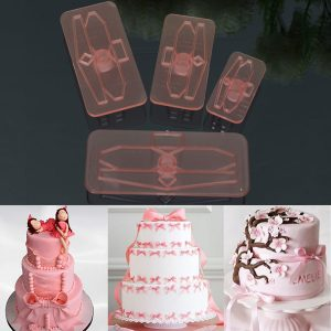 4st Plast Bow Bow Cutter Moulds Icing Cookie Biscuit Fondant Embosser Craft