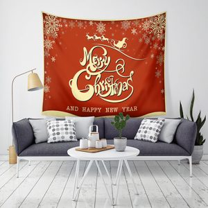 Loskii LWG7 Jultappstäver Santa Print Wall Hanging Tapestry Art Christmas Decorations For Home Deco