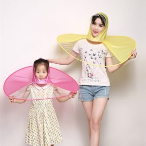 Creative Raincoat Umbrella UFO Shape Rain Hat Cap Child Adult Rain Coat Cover Transparent Umbrellas 3 Sizes for Outdoor Fishing Tour