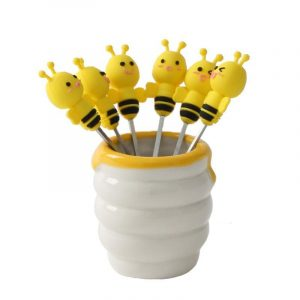 6 Pcs Silicone Bee Fruit Forks Mini Cartoon Animal Stainless Steel Salad Dessert Picks Tableware With Ceramics Pot  Table Decoration Tools for Party and Kitchen