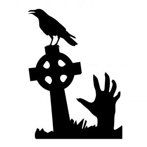 Halloween Grave Skull Hand Showcase Glas Fönster Dekor Väggklistermärke Party House Heminredning Kreativ dekal DIY Väggdekor Väggkonst Klistermärke