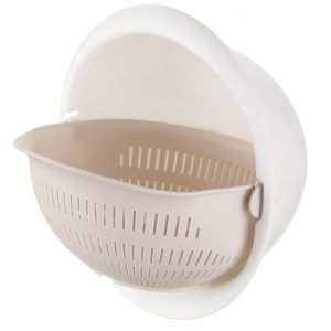 Double Layer Round Drain Basket Kitchen Bracket For Washing Fruit Vegetable