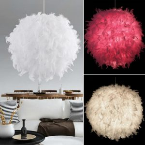 Elegant Fluffy Feather Ceiling Pendant Light Wall Fixture Chandelier Home Decorations Light