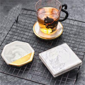 Guldmarmor Coaster Cup Mat Placemat Pad Holder 3 Stilar Round Square Octagon