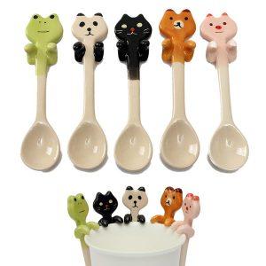 Söt tecknad djur keramisk hängande kaffe skopa mjölk te soppa sked porslin dekoration