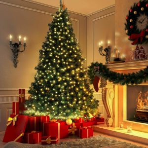 2.1m/7FT Christmas Tree Artificial Pine Christmas Tree Holiday Party Decorate Green Tree DIY Christmas Tree Kit