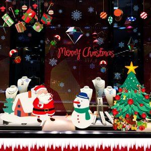 Avtagbar jul Santa Snowman Wall Stickers Fönsterdekor Heminredning