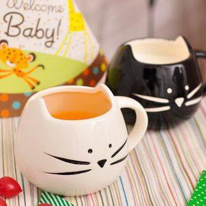 Kreativ keramisk katt djur kaffekopp rånar vattenmjölk kopp par älskare kopp