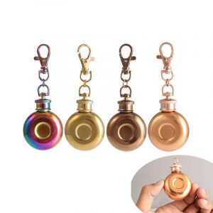 1oz 28ml Mini Stainless Steel Round Hip Flask With Keychain Liquor Alcohol Whiskey W-ine Pot Small Flasks Drinkware