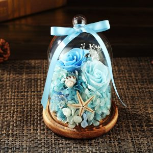 Eternal Flower Fresh Preserved Rose with Glass Bottle Cover Wedding Home Party Car Decorations Eternal Flower Gift For Girl Creative Romantic Rose Bulb Great Holiday