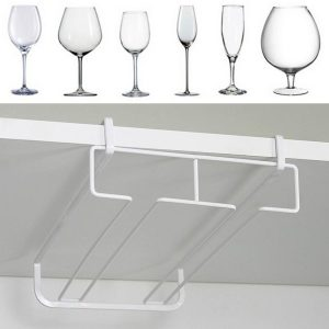 White Metal Fresh Bar Champagne Wine Glass Holder Rack Storage Cabinet Hängande