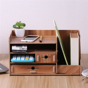 "13.8x8x8"" Wooden DIY Storage Box With Drawer Cosmetics Organizer Desktop Home Decorations"