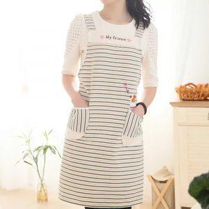 Hushållskök Mode Kvinnor Oljeförebyggande Polyester Ärmlös randigt dukförkläde