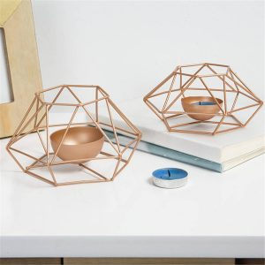 Creative Hollow Nordic 3D Geometric Tea Light Candlestick Candleholder Decor