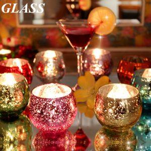 Färgglada glas ljusstake ljusstake Candelabra romantisk hem bröllop dekor gåva