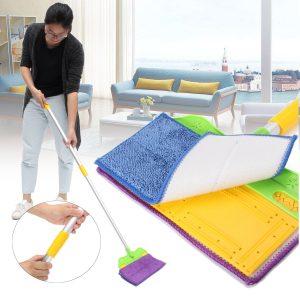 Handfri tvätt Dubbel-sida Flat Mop Microfiber Cleaner Golvrengöringsverktyg