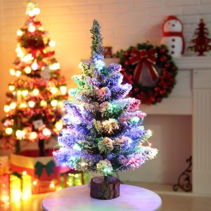 50cm Mini Table Top Snow Christmas Tree LED Color Home Xmas Gift Decor Party Christmas Light