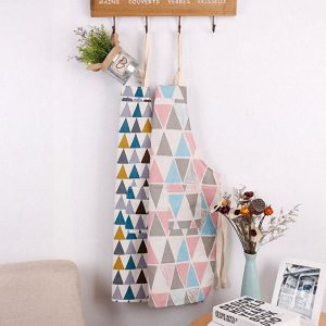 Honana Cotton Sleeveless Apron Triangular Lattice Kitchen Cooking Simple Aprons Cotton Linen Art Adult Cute Gown