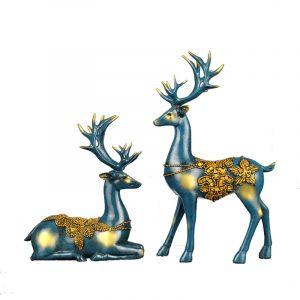 Nordic Style Resin Elk Figurines Möbler Artiklar Originalitet Familjerum Heminredning