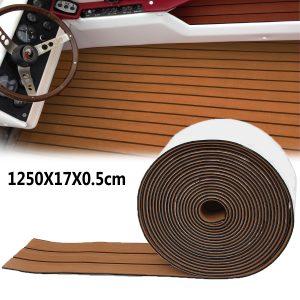 1250x17x0.5cm Long Brown EVA Foam Boat Flooring Faux Teak Decking Sheet Pad Rug