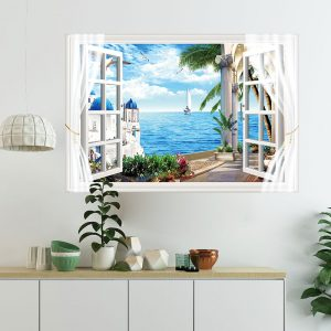 Miico FX82012 Mediterranean Landscape Wall Sticker Window Printing Home Decorative Wall Stickers