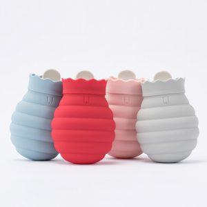 Creative Mini Silikon Mikrovågsugn Uppvärmning Varmvattenpåse med stickad täcke Varm Handväska Vatteninjektion Varmvattenflaska Valentine presenter